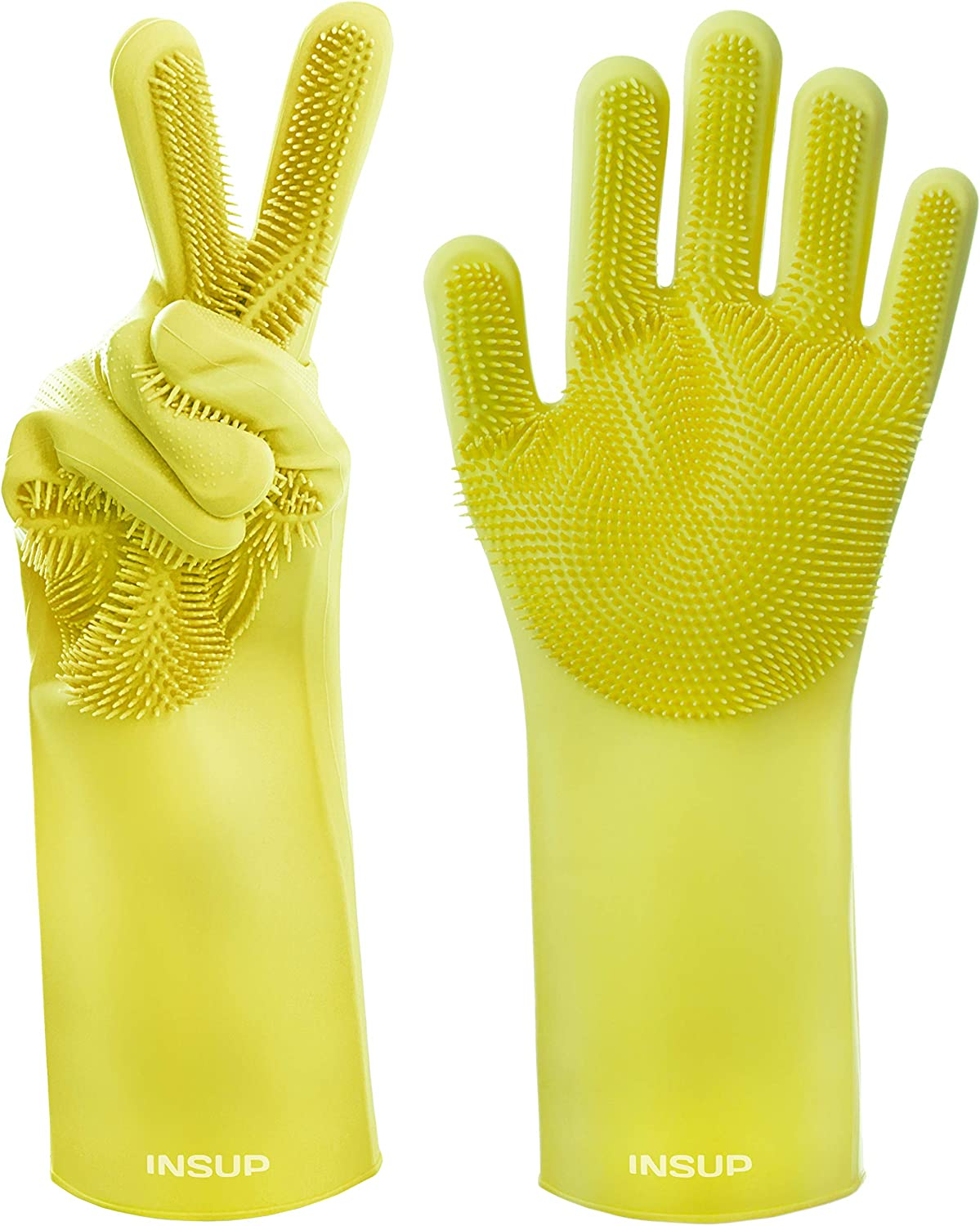 INSUP Premium Dishwashing Gloves with Bristles - Magical Cleaning Gloves Washing Mitts with Scrubbers Best for Household and Multi Purpose Use - Scrub for Kitchen Gloves (Yellow)