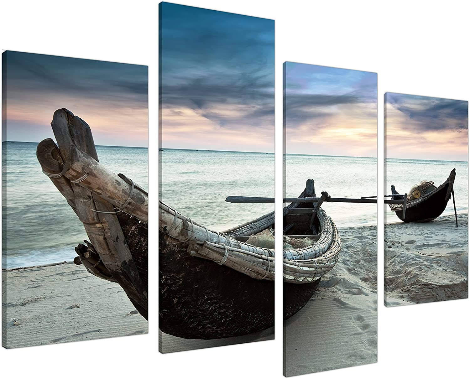 Thailand Wall Art Decor Canvas Beach Pictures - Fishing Boats Sunset in Blue - 51