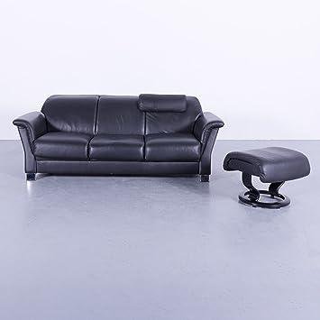 Ekornes Stressless Leder Sofa Garnitur Schwarz Dreisitzer Couch