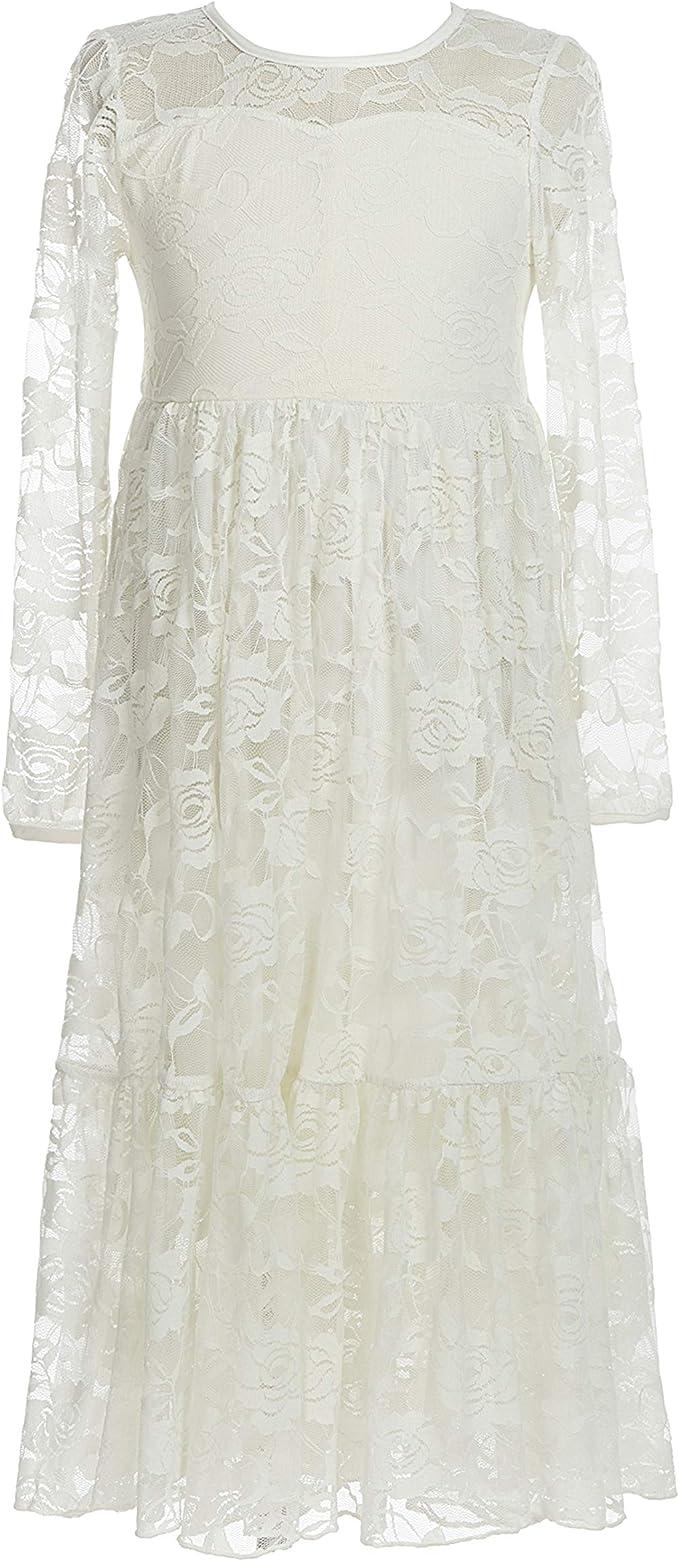 belababy Mädchen Kleider Spitze Lange Ärmel Boho Tutu Blumenspitze Tüll  Kommunion Festzug Blumen Mädchen Weiße Kleider