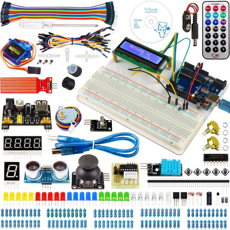 Miuzei for Arduino UNO Starter Kit with Project Tutorials, 5 in 1 Holder, UNO Board, LCD 1602, Servo, Sensors for Arduino UNO R3, Mega2560, Nano