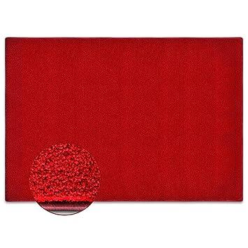 casa pura tapis salon rouge poil court moelleux tapis idal chambre couloir labelis - Tapis De Salon Rouge