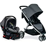 BRITAX B-Lively Travel System with B-Safe Ultra Infant Car Seat, 2 Layer Impact Protection, Birth to 55 Pounds, One Hand Fold