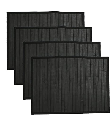 Amazon.com: Hotel 08414 Bamboo 4 Pack Placemat Set,Black,12x18: Home & Kitchen