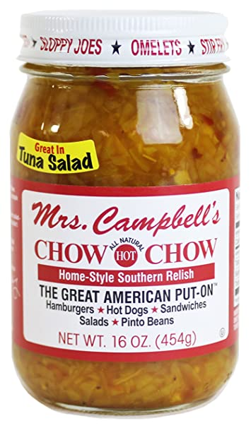GOLDING FARMS 2 Pack - Mrs  Campbell's Chow Chow - One 16oz Jar of Each:  Hot and Sweet