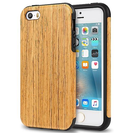 33 opinioni per TENDLIN Cover iPhone 5S Legno Ibrida Silicone TPU Flessibile Custodia Antiurto