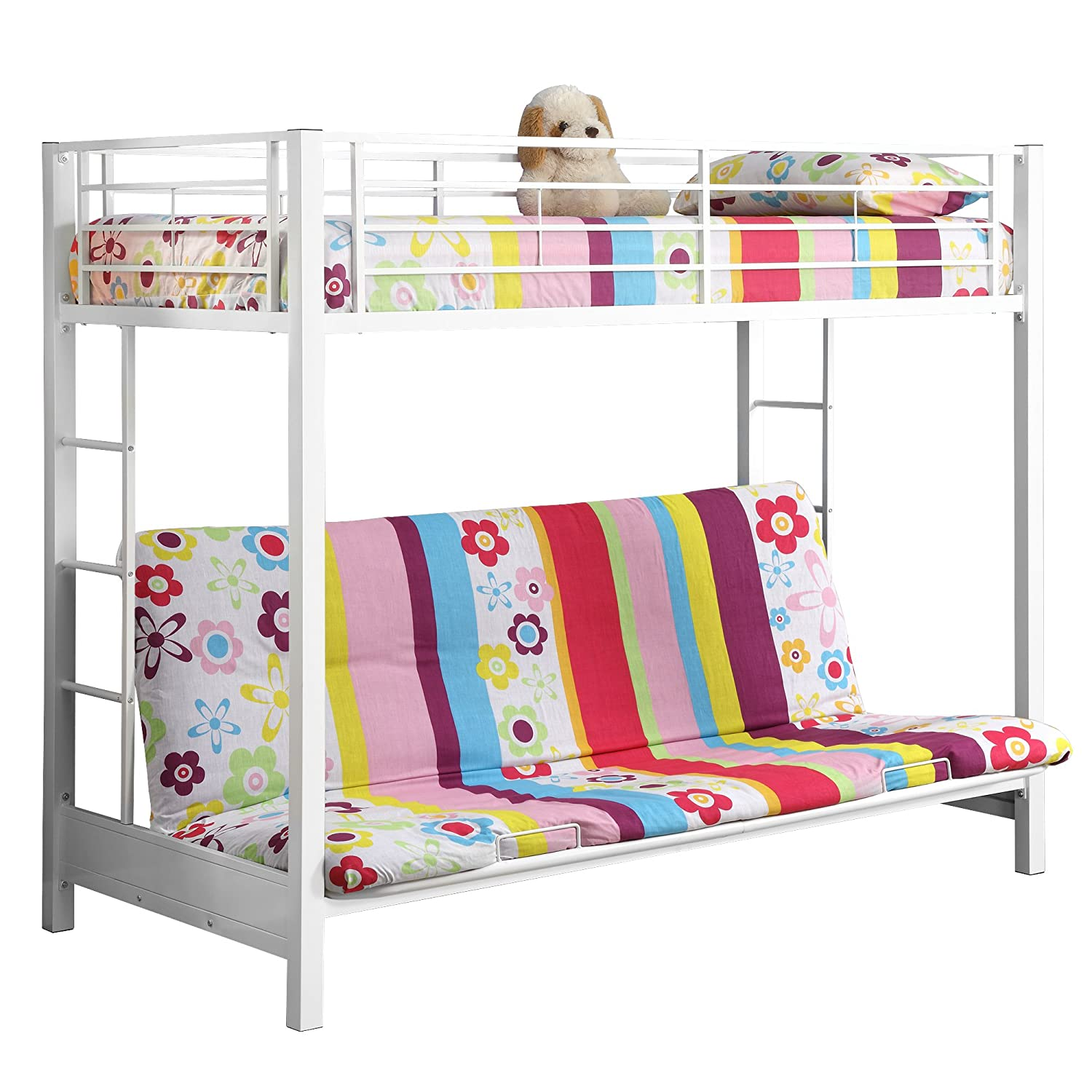 Amazon Sturdy Metal Twin over Futon Bunk Bed in White Finish