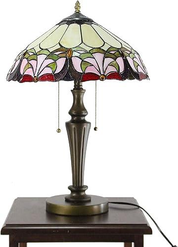 FixtureDisplays Tiffany Style Elegant 2 Lights Desktop Lamp 16-Inch Shade15719