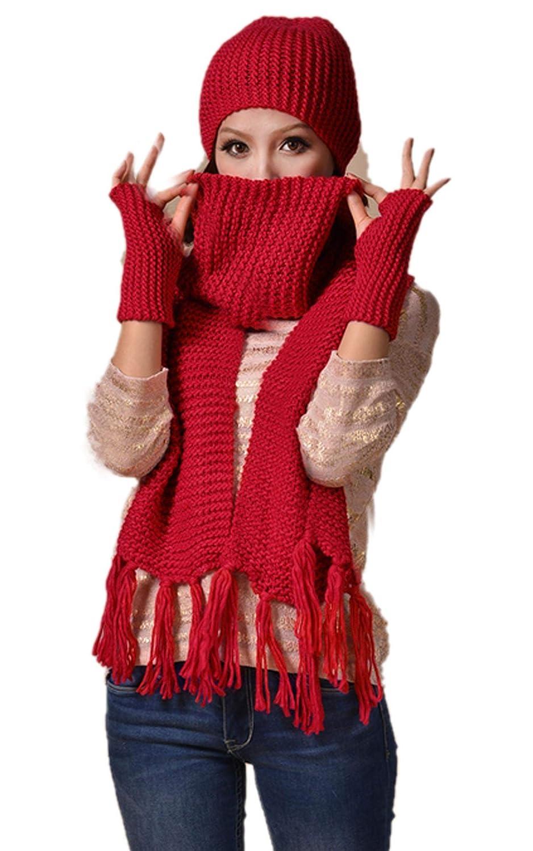 FINEJO Ladies 3pcs Winter Soft Knit Beanie Hat Long Scarf Gloves Set 5 Colors SV013609_R