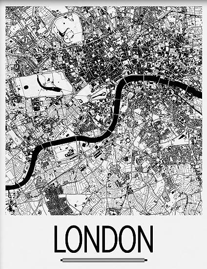 Amazon Com I Like Maps London England Black White Art Deco