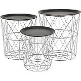 [en.casa]® Tavolini decorativi in un set di 3 ideale come tavolino d´appoggio di metallo argento