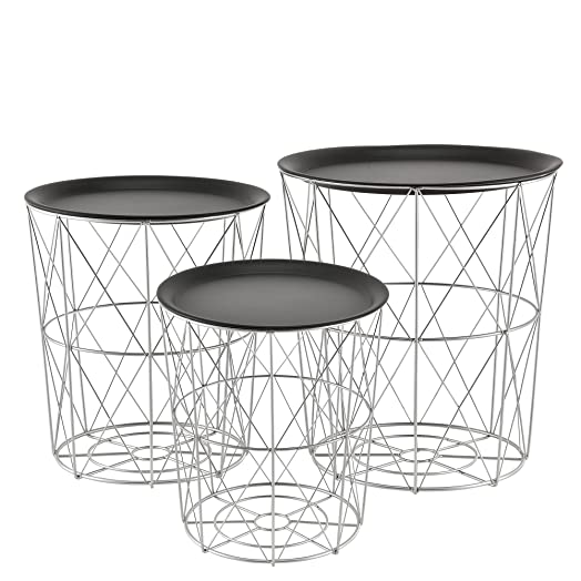 en.casa] metal wire side table - coffee couch end table - designer ...