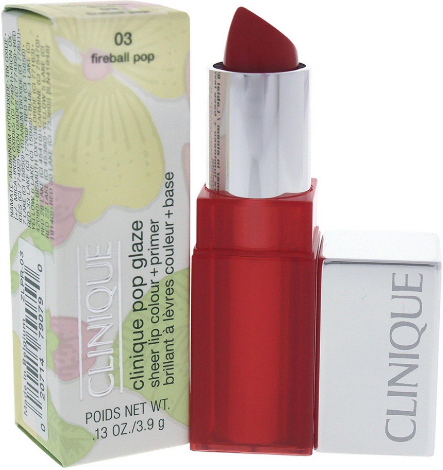 Clinique Pop Glaze Sheer Lip Color + Primer, No. 03 Fireball Pop, 0.13 Ounce