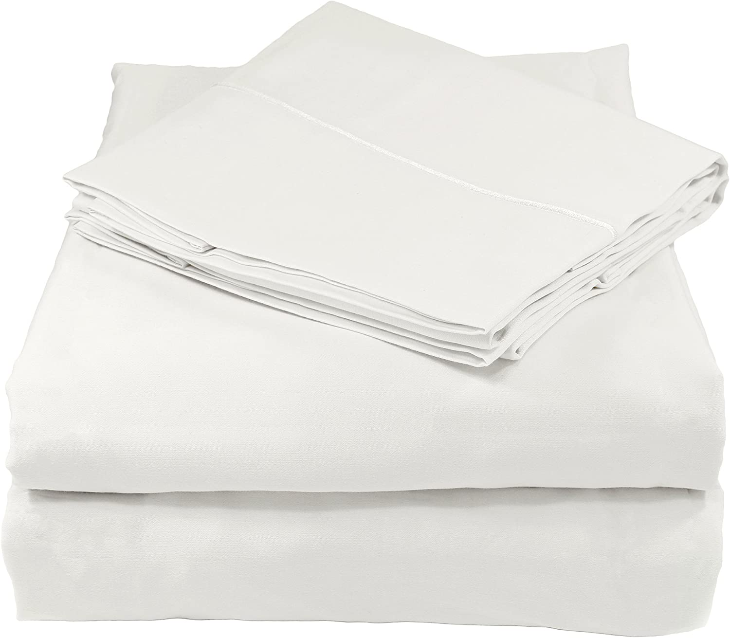 Whisper Organics Organic Bed Sheets Set 400 Thread Count Made from 100% GOTS Cotton (Queen,White)
