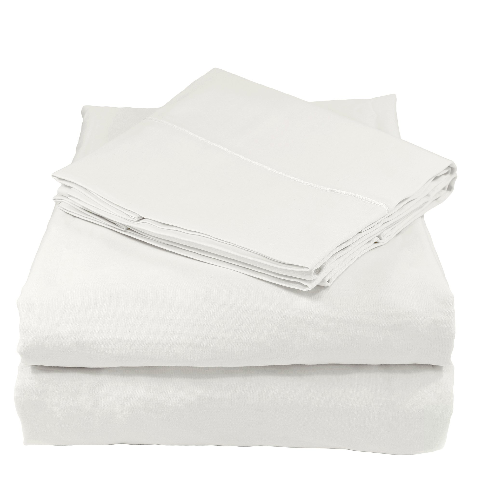 Whisper Organics Bed Sheets, Organic 100% Cotton Sheet Set, 500 Thread Count, 4 Piece: Fitted Sheet, Flat Sheet + 2 Pillowcases, Queen, White