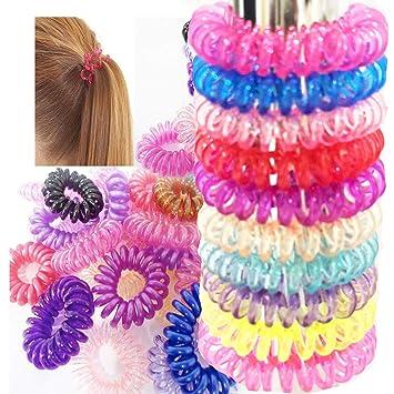 Grids London 10 X Spiral Random Color Women Hair Bobble Ring Bobbles Bands  Rubber Coil Tie c891803f3ba