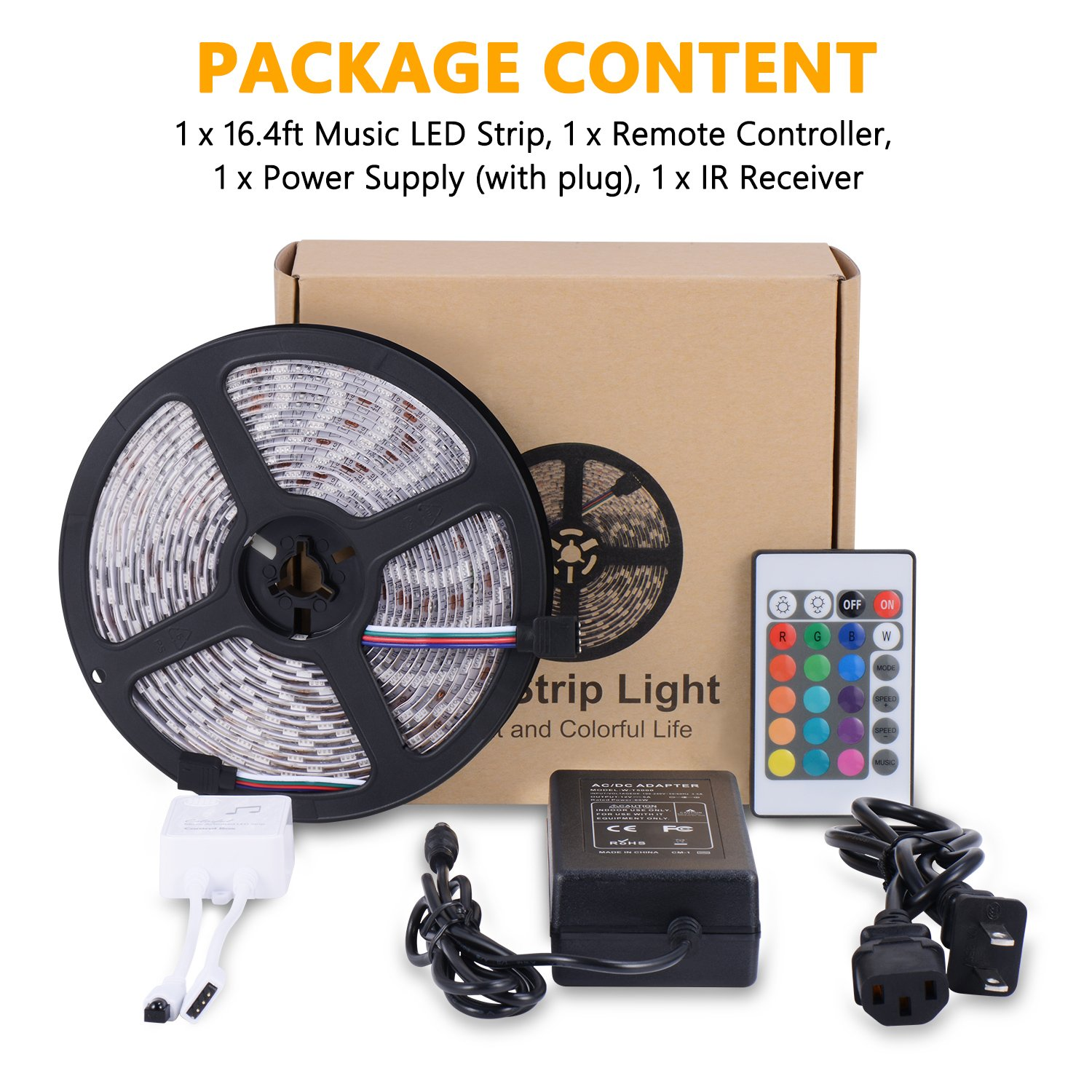 SUNNEST Music Activated LED Strip Light Kit, Waterproof 16.4ft 300 LEDs RGB SMD 5050 LED Tape with Remote Controller, IR Receiver, Power Supply, Sync with Music by SUNNEST (Image #7)