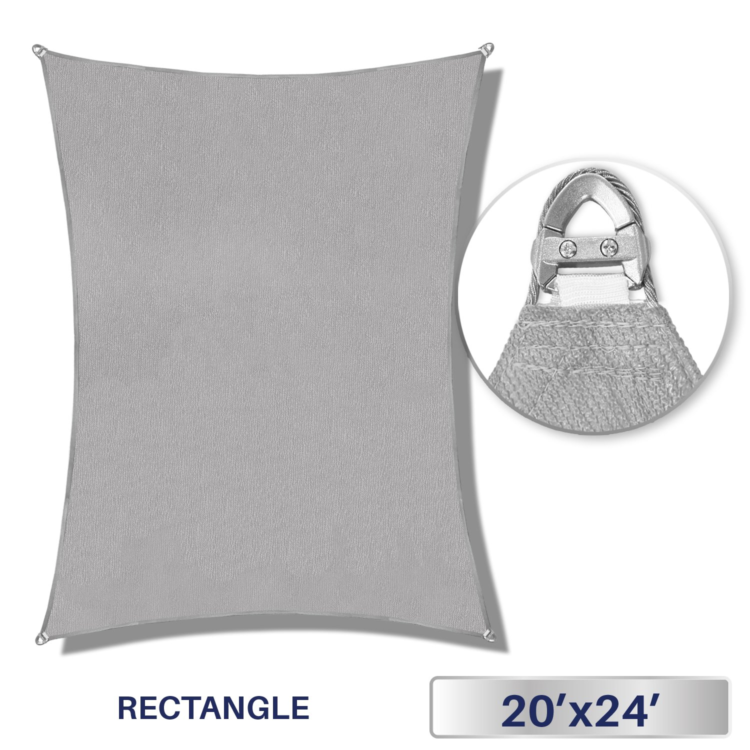 Windscreen4less A-Ring Reinforcement Large Sun Shade Sail 20' x 24' Rectangle Super Heavy Duty Strengthen Durable(260GSM)-Galvanized Cable Enhanced - Light Grey / 7 Year Warranty by Windscreen4less
