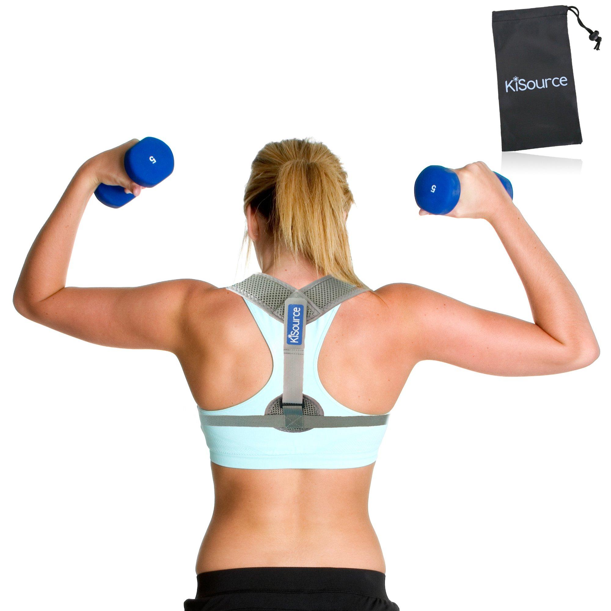Back Posture Corrector & Shoulder Support for Men & Women | Comfortable & Discrete (Grey) Back Brace Provides Neck & Back Pain Relief | Improves & Straightens Posture