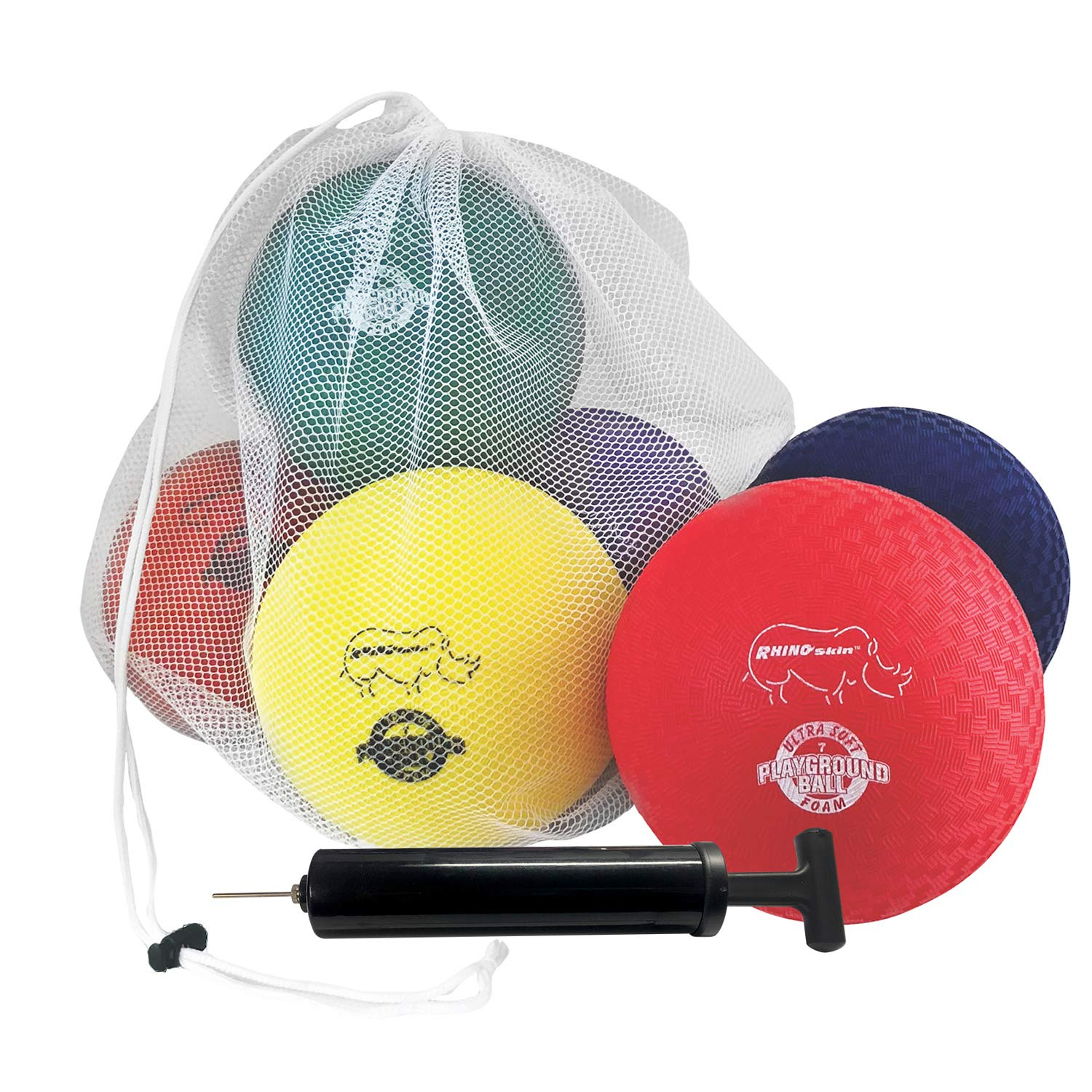 Champion Sports RSPG7SET Playground Ball Set: Six 7 Inch Rhino Skin Soft Inflatable Balls for Kids Outdoor & Backyard Games, School & Gym Class - Includes Storage Bag and Pump by Champion Sports