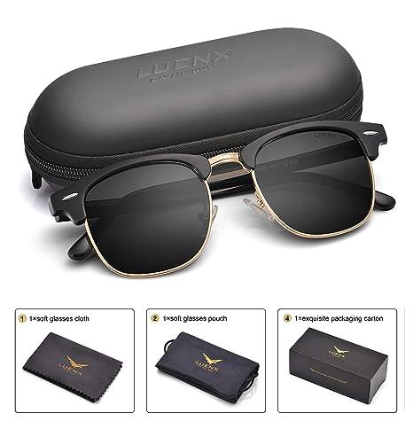 LUENX Hombres Clubmaster Gafas De Sol Polarizadas Mujer: UV 400 protección, de 51 mm funda: Amazon.es: Ropa y accesorios