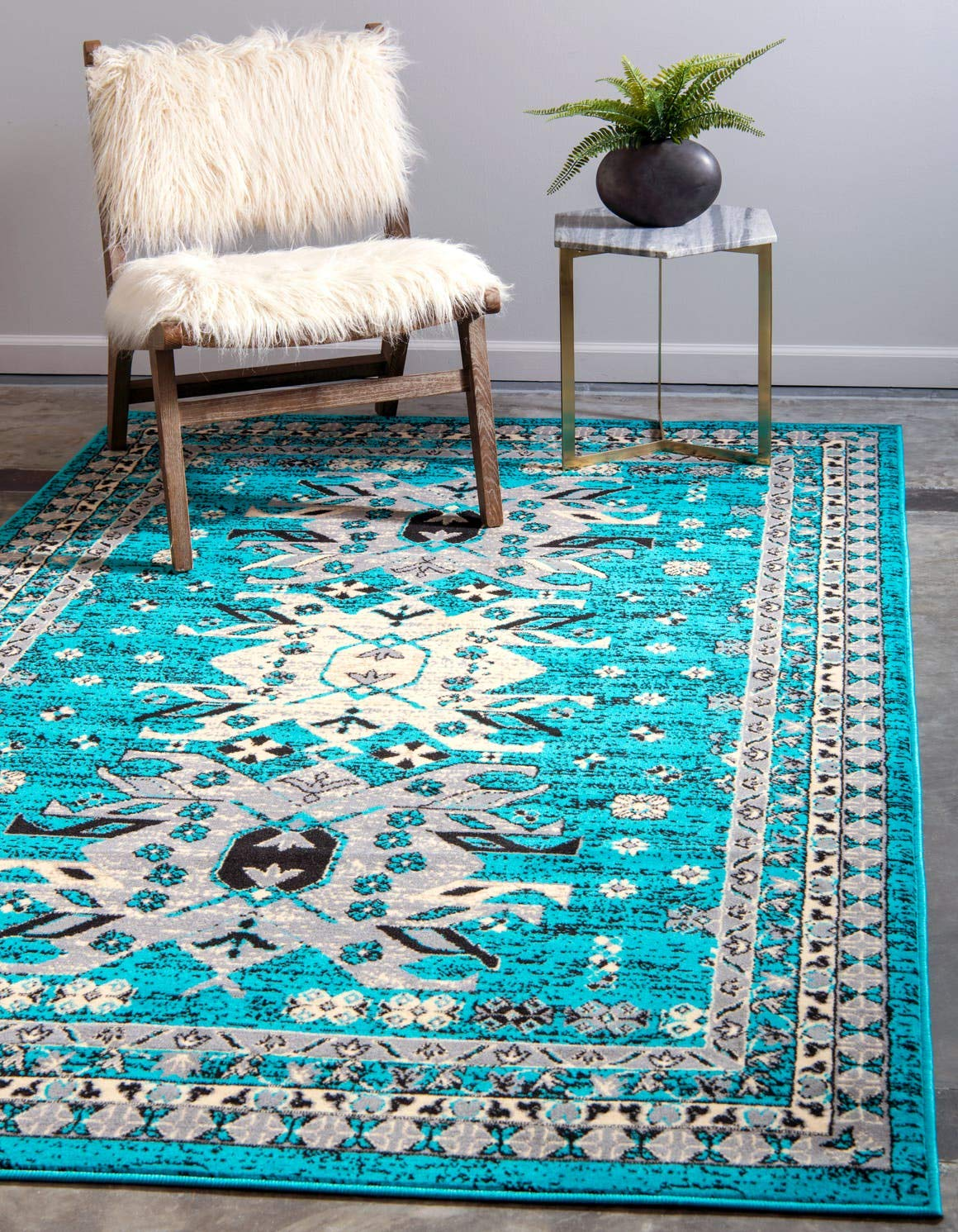 Unique Loom Taftan Collection Geometric Tribal Turquoise Area Rug 4 0 x 6 0
