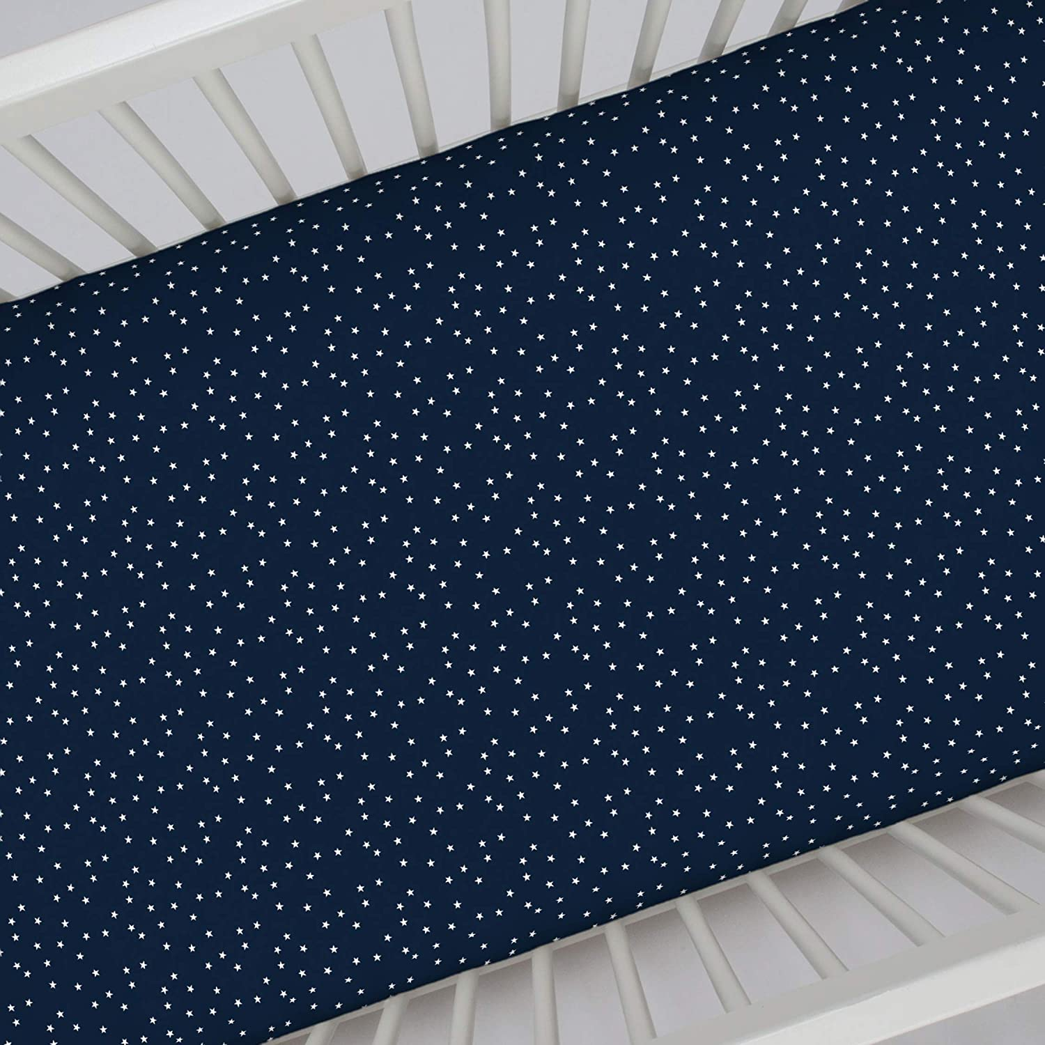 Carter's 100% Cotton Sateen Fitted Crib Sheet, Stars, Navy, White