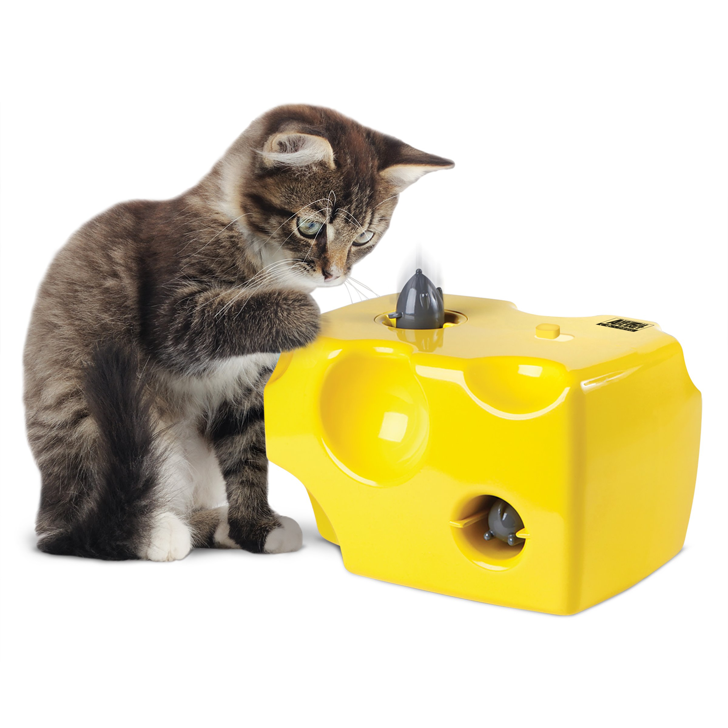 ANIMAL PLANET Automatic Peek-a-Boo Mouse & Cheese Interactive Toy for Cats, Features Built-In Auto Off Function, Pop Out Mice For Hours Of Entertainment, All Day Play W/Away Mode, Battery Operated by Animal Planet