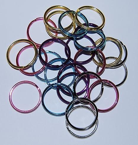 Juego de 25 anillas dobles y circulares para llavero, de 25 ...