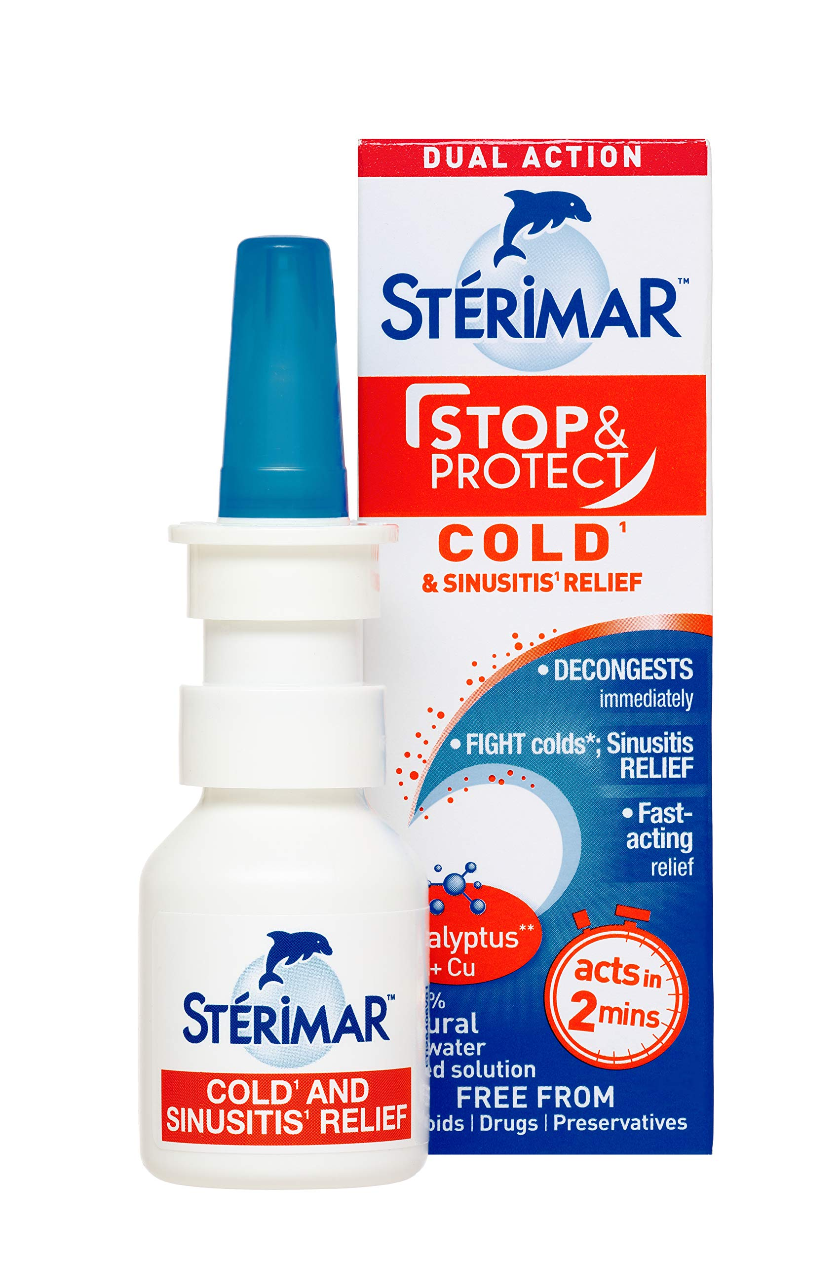 Sterimar Stop & Protect Cold and Sinus Relief- 100% Natural Sea Water Based Nasal Spray with Added Copper and Eucalyptus - 20 ml Can