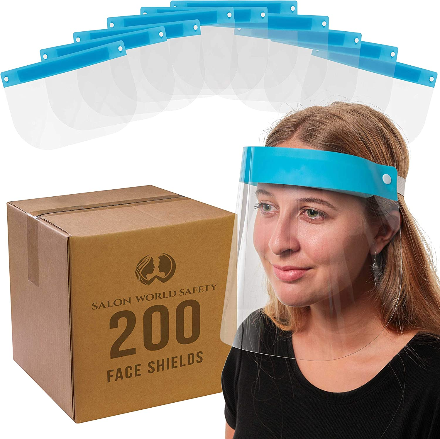 Salon World Safety 200 Face Shields (20 Packs of 10) - Ultra Clear Protective Full Face Shields to Protect Eyes, Nose and Mouth - Anti-Fog PET Plastic, Elastic Headband - Sanitary Droplet Splash Guard