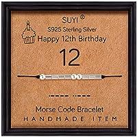 Suyi Morse Code Bracelet Birthday Gifts for Women Girls Sterling Silver Bracelet Birthday Jewelry for 12th 13th 14th 15th Sweet 16th 17th 18th 19th 20th 21st 25th 30th 40th 50th 60th 70th 80th