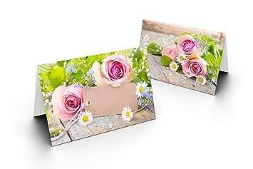 25 Tischkarten Grun Mit Rose Uv Lack Glanzend Fur Hochzeit