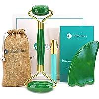 Grön Jade Roller, Gua Sha med Pensel- och Ansiktsverktyg-set - Massageroller för ansiktet i 100% Natursten…