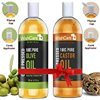 Premium Cold Pressed Castor & Olive Carrier Oil - 200ml each -100% Pure & Hexane Free - For Hair & Skin