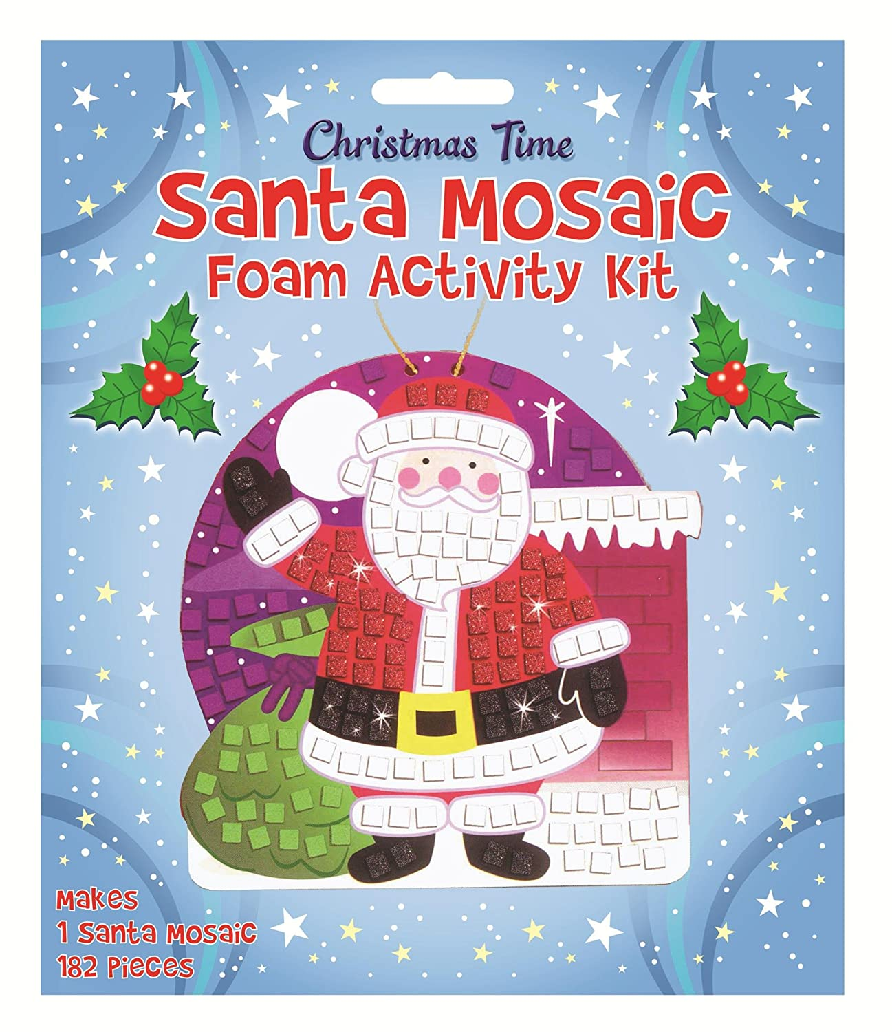 MAKE YOUR OWN SANTA MOSIAC XMAS CHRISTMAS SANTA MOSAIC GLITTER KIT ART CRAFT KIDS CHILDRENS STOCKING FILLER HENBTANDT