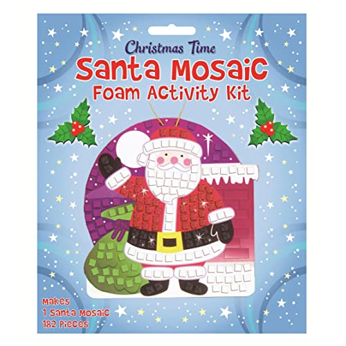 henbrandt make your own santa mosiac xmas christmas santa mosaic glitter kit art craft kids childrens