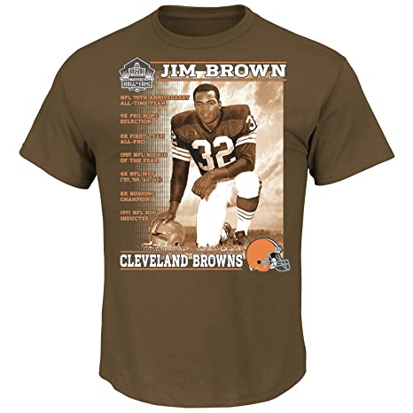 096898674 Jim Brown Cleveland Browns Hall of Fame Career Statistics Brown T-shirt  Small