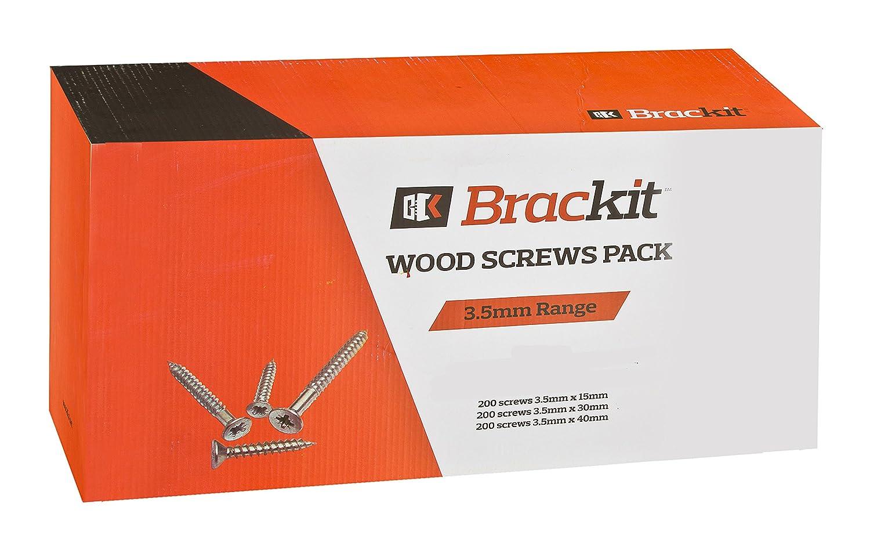 3,5 mm x 15 mm 600 unidades 30 mm y 40 mm Juego de tornillos de madera de 3,5 mm de gama