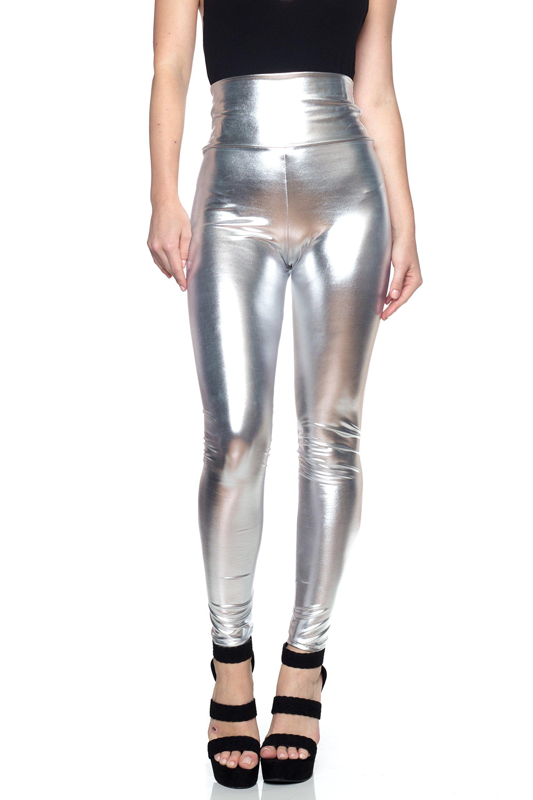 J2 Love Women's Junior Plus Faux Leather High Waist Leggings, 5X, Silver
