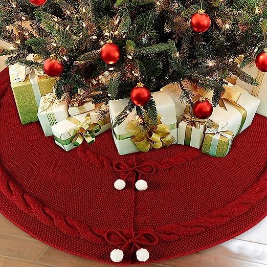 """New Knit Mini Christmas Tree//Small Xmas Holiday Tree Skirt GREEN Lined 18 /"""" Dia"""