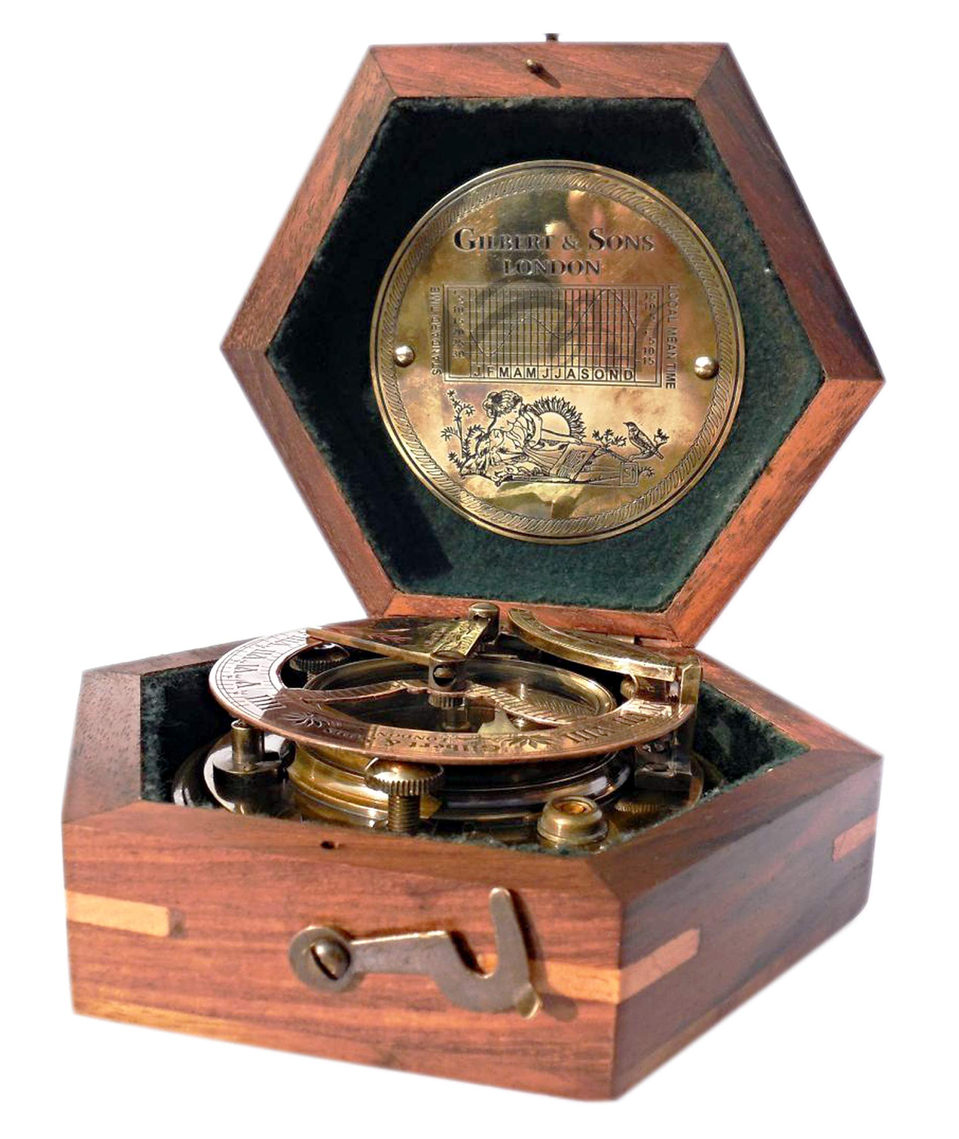 MAH Steampunk for Solid brass Sundial Compass in fitted Wooden Box. C-3052 by MAH