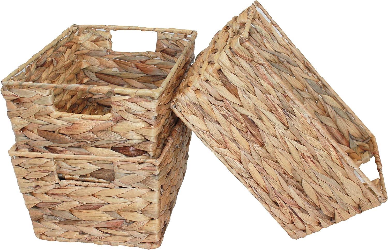 Juego de 3 cestas de almacenamiento con asas de inserci/ón HE78