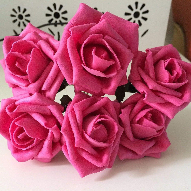 FidgetGear 72 発泡体フラワーローズ 造花 ウェディングセンターピースブーケ ピンク LifengUSWRXY-16D22682C1-823 B07GRR67DX フクシャ