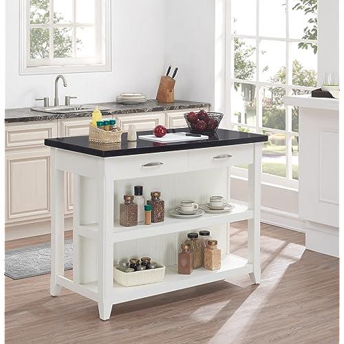 Kitchen island bar table amazon bello ki10275 48 t401 farmhouse kitchen island with granite top white watchthetrailerfo