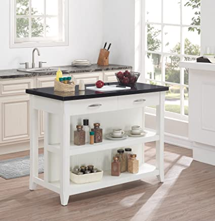 bello ki10275 48 t401 farmhouse kitchen island with granite top white - Farmhouse Kitchen Island