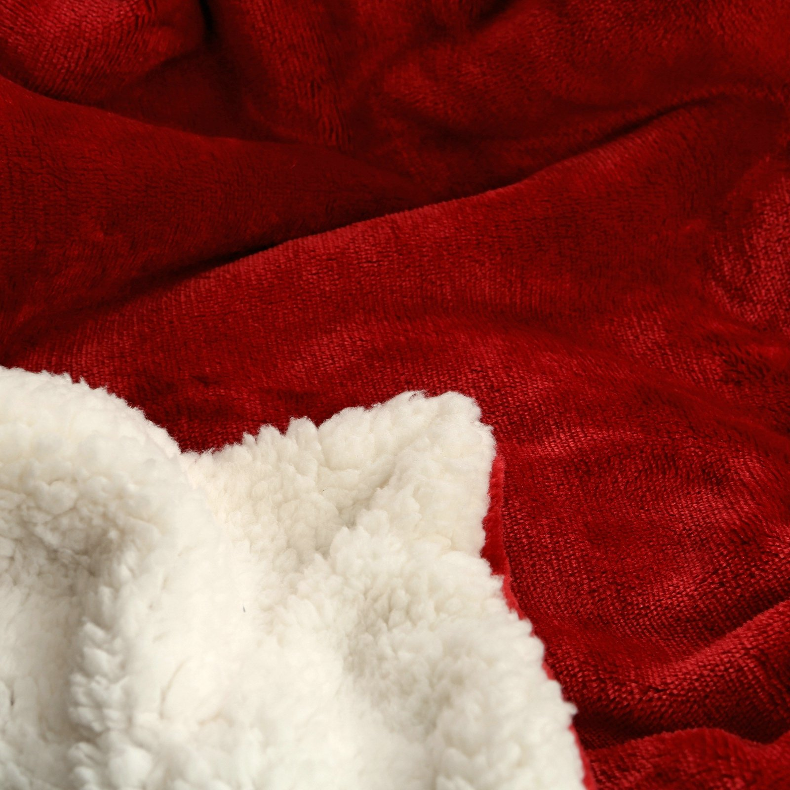 Sherpa Throw Blanket Luxury Burgundy Red Twin Size 60x80 Inches Reversible All Season Super Soft Warm Fleece Thick Fuzzy Microplush Blanket for Bed Couch and Gift Blankets