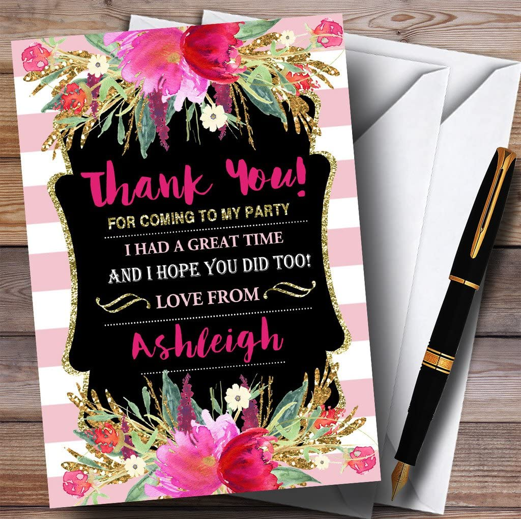 Pink Stripes Gold Floral Girls Party Thank You Cards