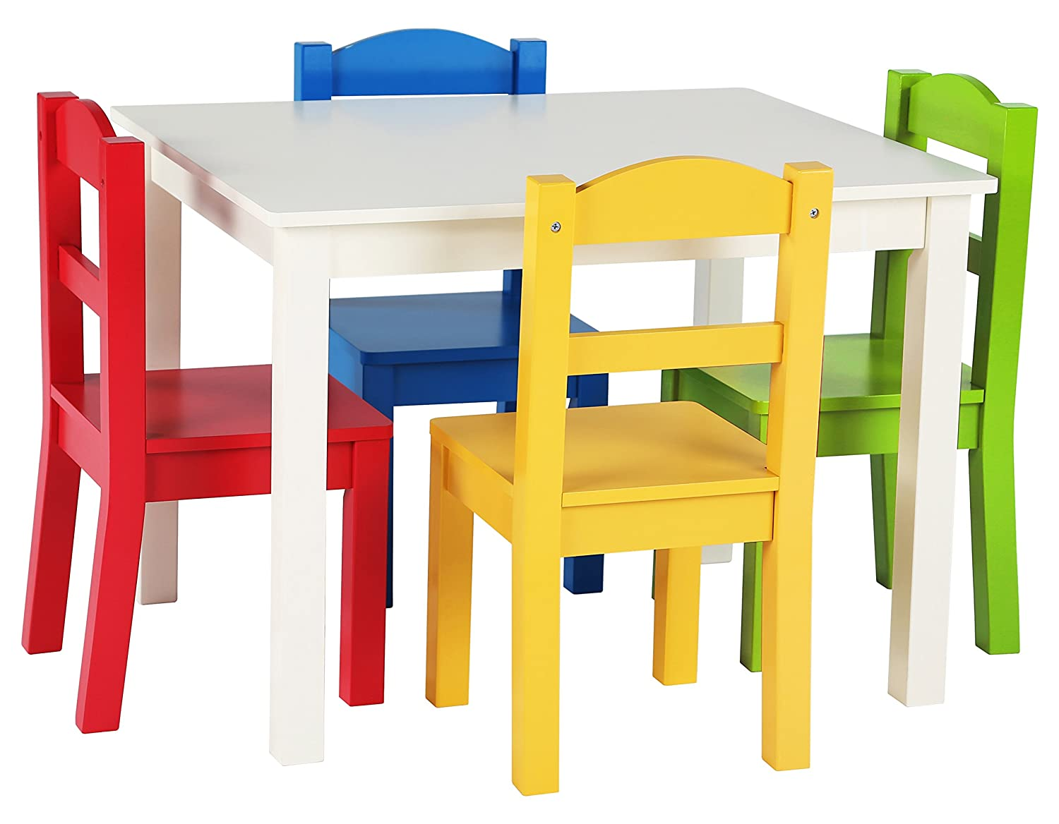 Tot Tutors TC406 Summit Collection Kids Wood Table & 4 Chair Set, White/Primary