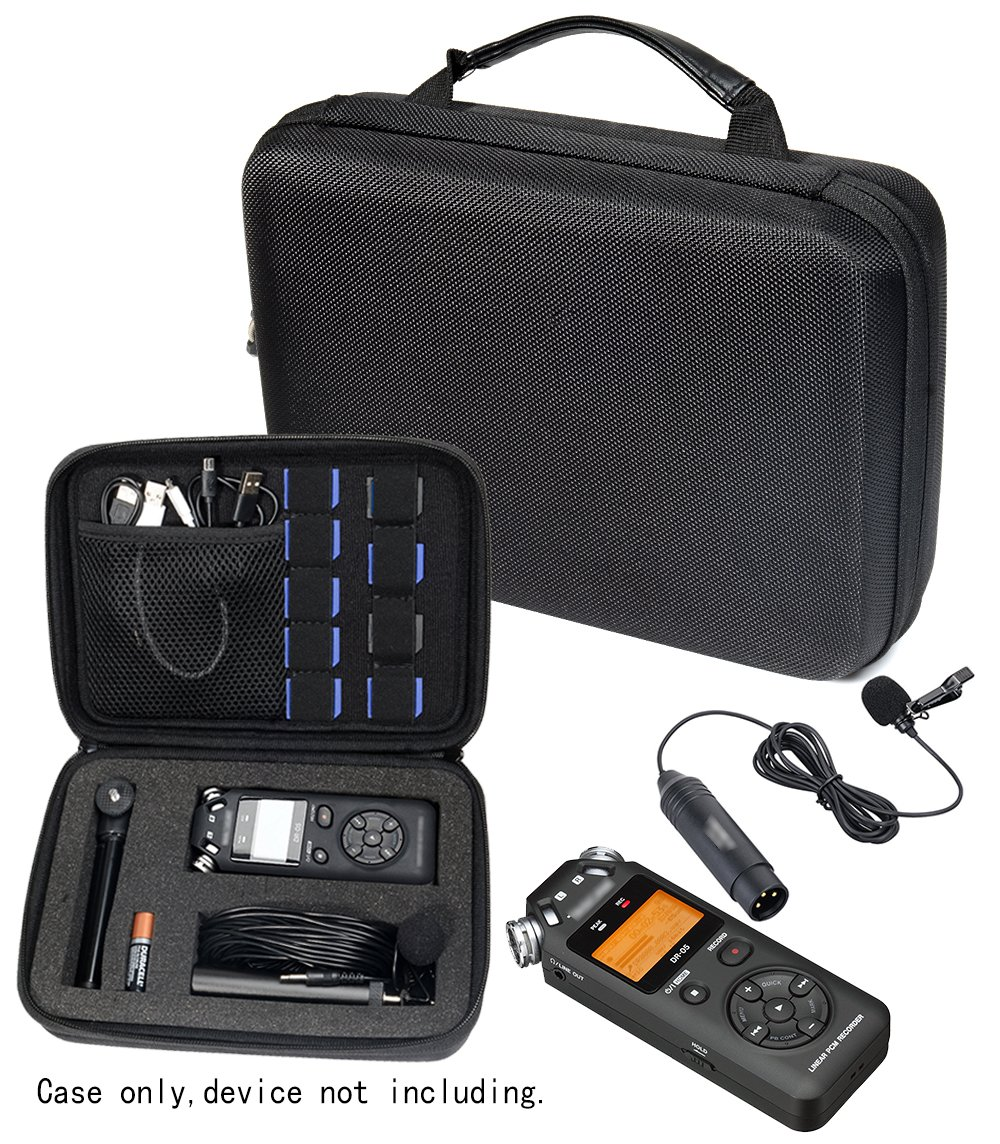 Professional Portable Recorder Case with DIY foam inlay for DR-05, DR-40, DR-22L, DR-100MKll, DR-1, Mini Tripod, Adapter, Mic Pop Windscreen, Smart accessory padding solution for SD cards, cabl WGear WG011827